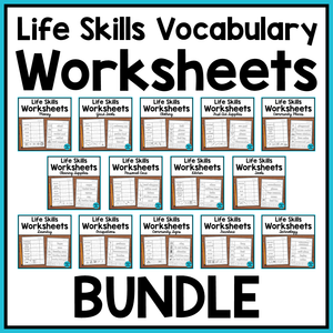 Life Skills Worksheets - Vocabulary BUNDLE