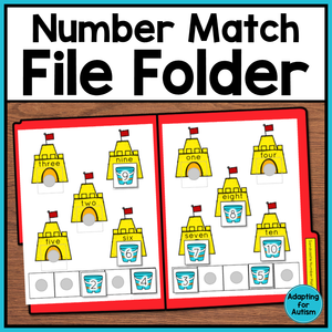 FREE Math File Folder Activity - Match Numerals to Number Words