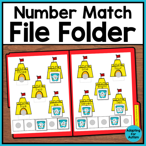 Summer file folder - match numeral to number word with sandcastles