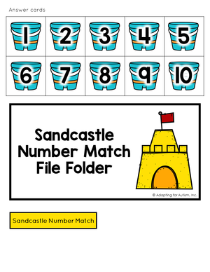 Summer file folder - numerals on sand buckets and file folder cover