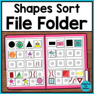 FREE Shapes Sorting File Folder Activity