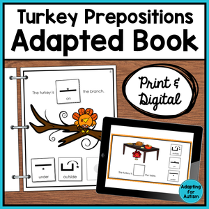 Thanksgiving Adapted Book of Prepositions (Print and Digital)