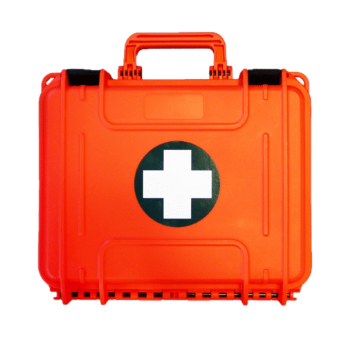 coffret de secours vide orange