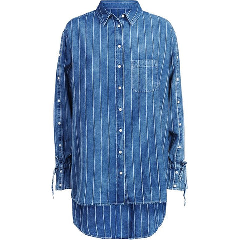 Summum Woman - Shirt Buttoned SLV Indigo White Stripe