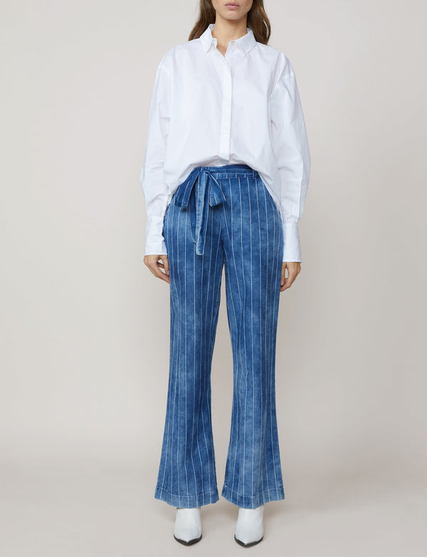 Summum Woman - Belted Trouser Indigo White Stripe