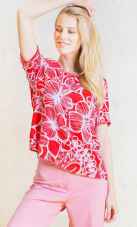 Emily - Red Flower Shirt