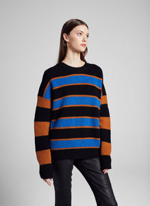 Roman Sweater- Cobalt/Caramel/Black
