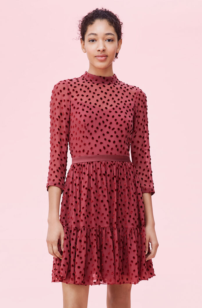 Velvet Dot Jacquard Dress- Wine