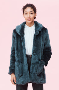 Faux Shearling Coat- Sarcelle Blue