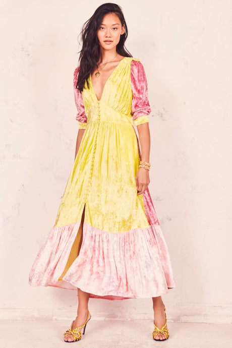 Avalon Dress- Chartreuse Deep Pink