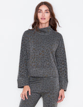 Load image into Gallery viewer, Leopard Funnel Neck Sweater- Smoke