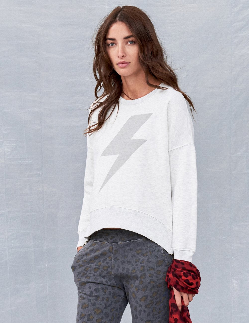 Bolt Double Zip Sweatshirt- Light Grey