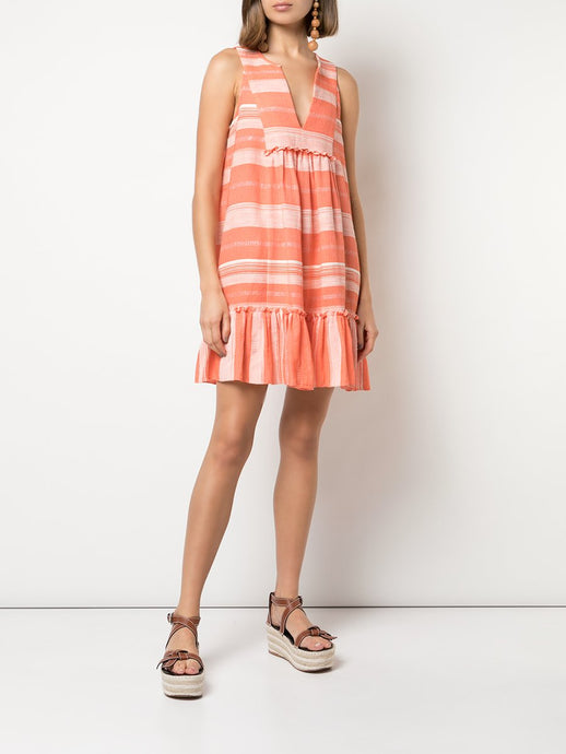 Birtukan Bib Dress- Coral