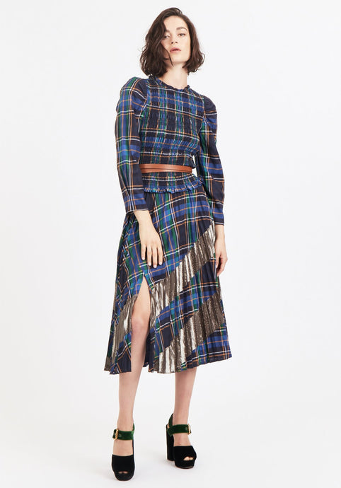 Reyna Skirt- Navy Plaid