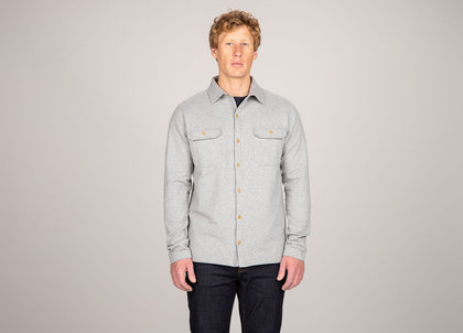 Front of mens grey, organic cotton, brushed back shirt by Finisterre
