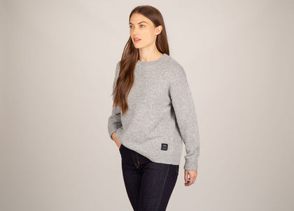 Front of womens grey, lambswool jumper by Finisterre