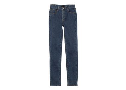Front of womens light blue, high waisted, skinny fit jean by Finisterre