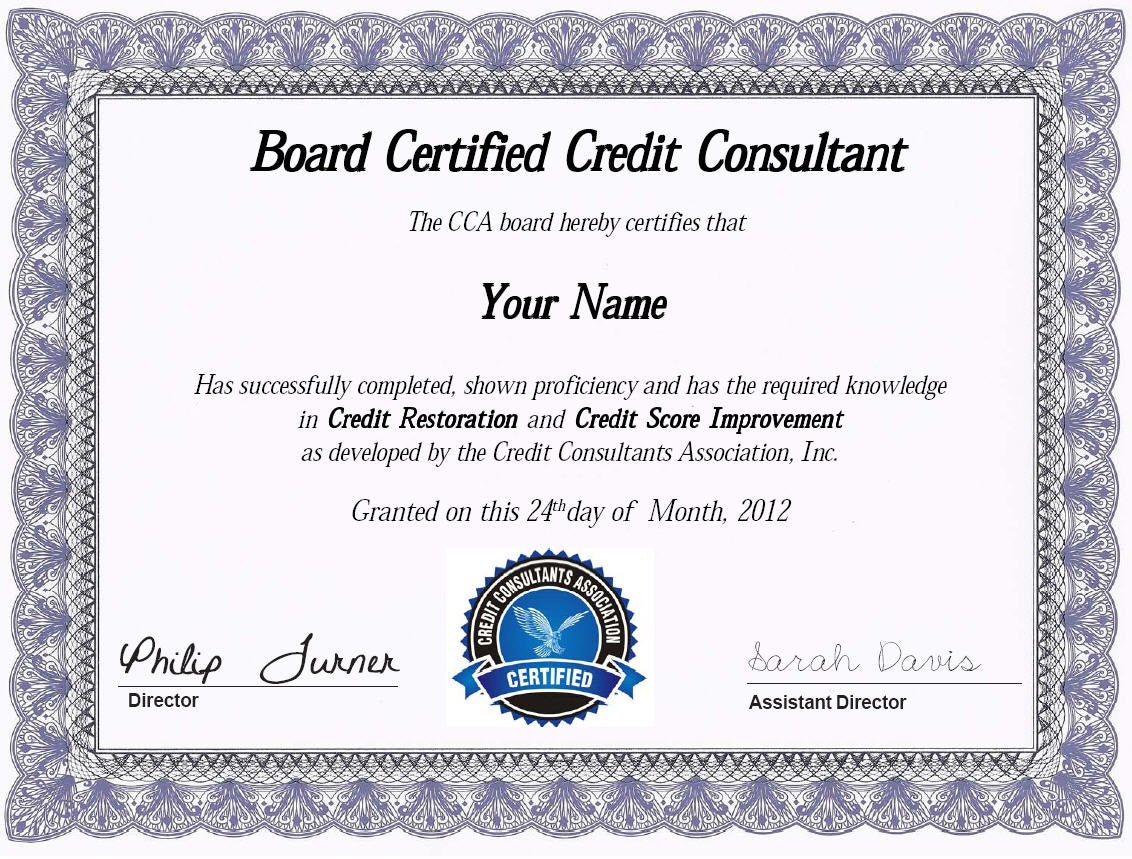 Board Certified Credit Consultant Course And Certification