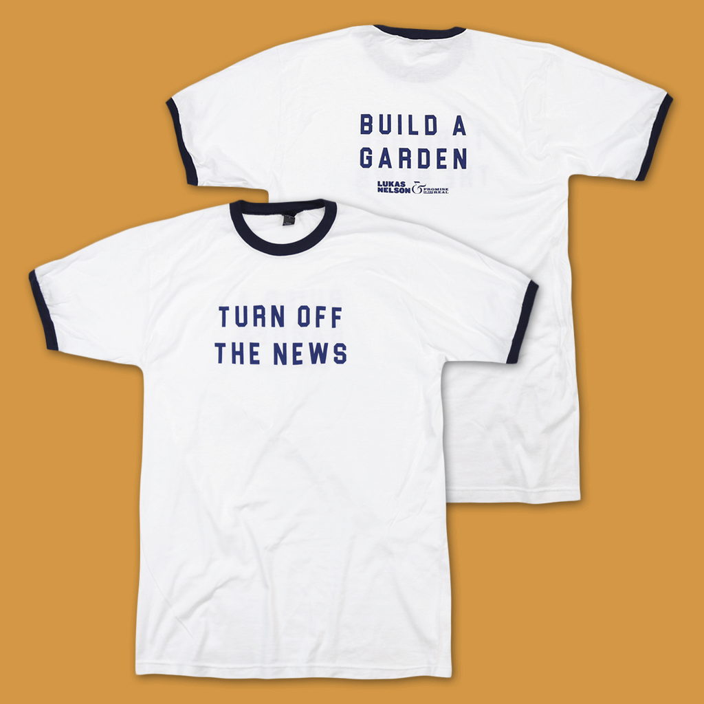 Turn Off The News White/Navy Ringer T-Shirt