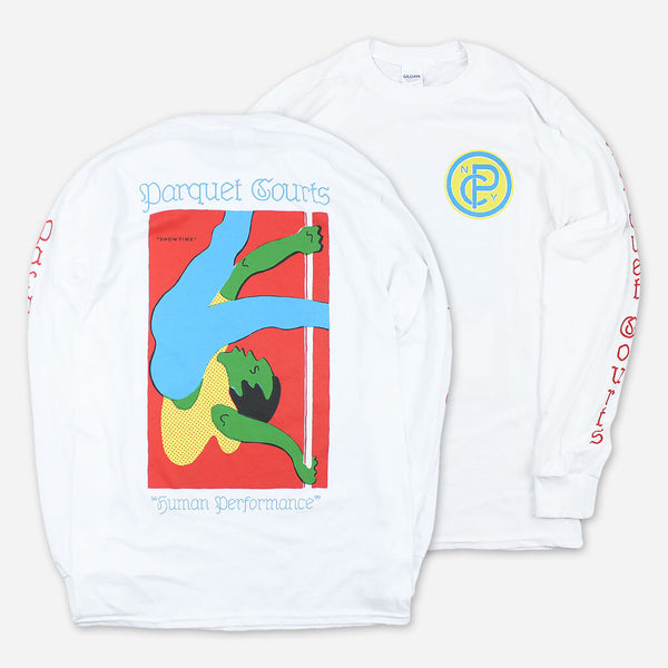 Showtime White Long Sleeve T-Shirt by Parquet Courts for sale on hellomerch.com