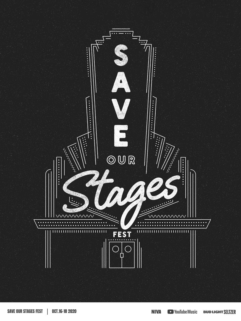 Save Our Stages Fest -  Double Sided Hand Screen-Printed Poster