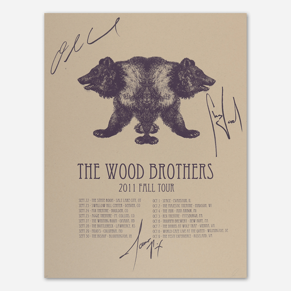 2011 Fall Tour Signed Poster by The Wood Brothers for sale on hellomerch.com