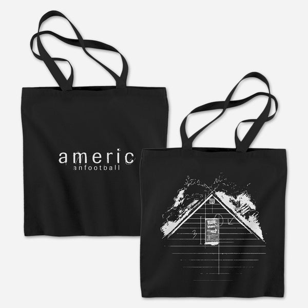 House Sketch Black Tote Bag by American Football for sale on hellomerch.com