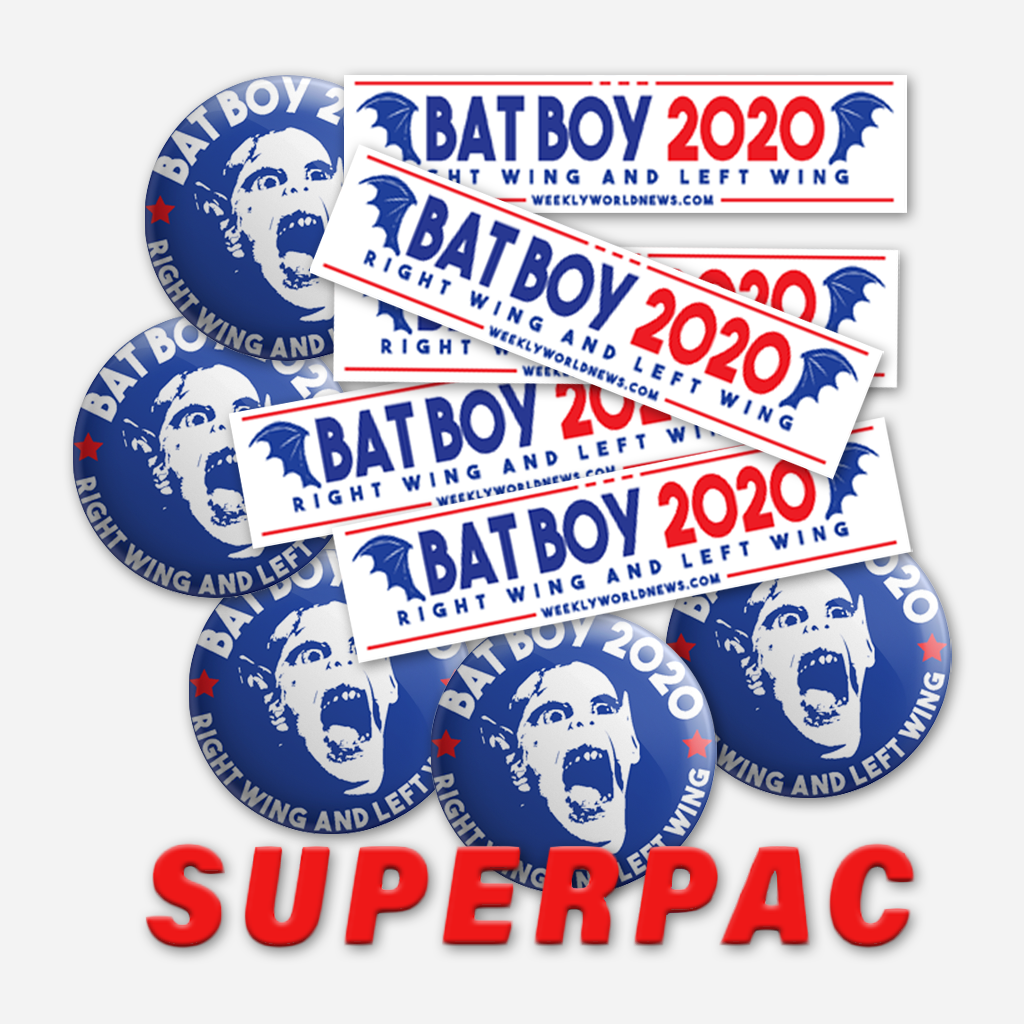 Bat Boy for President Button & Bumper Sticker SUPERPAC