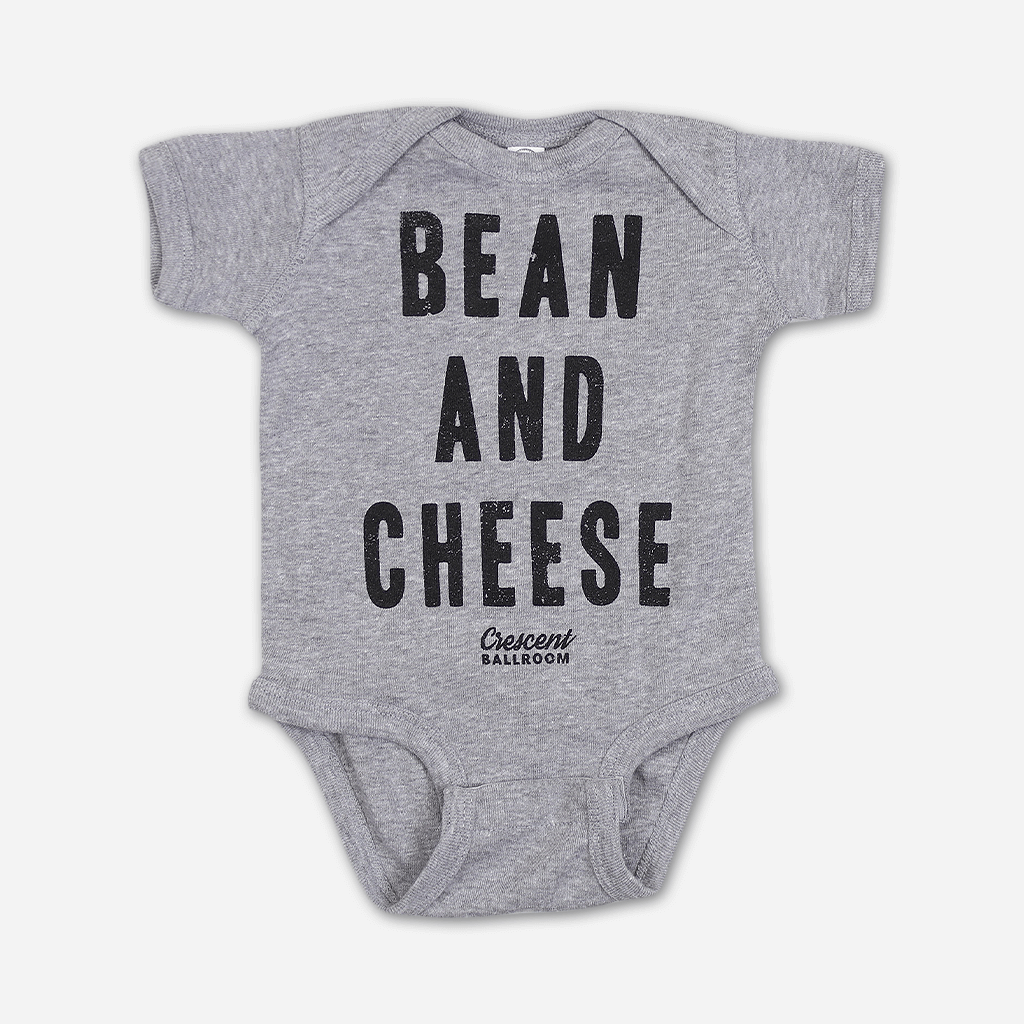 Bean and Cheese Heather Grey Infant Baby Rib Bodysuit with Snaps