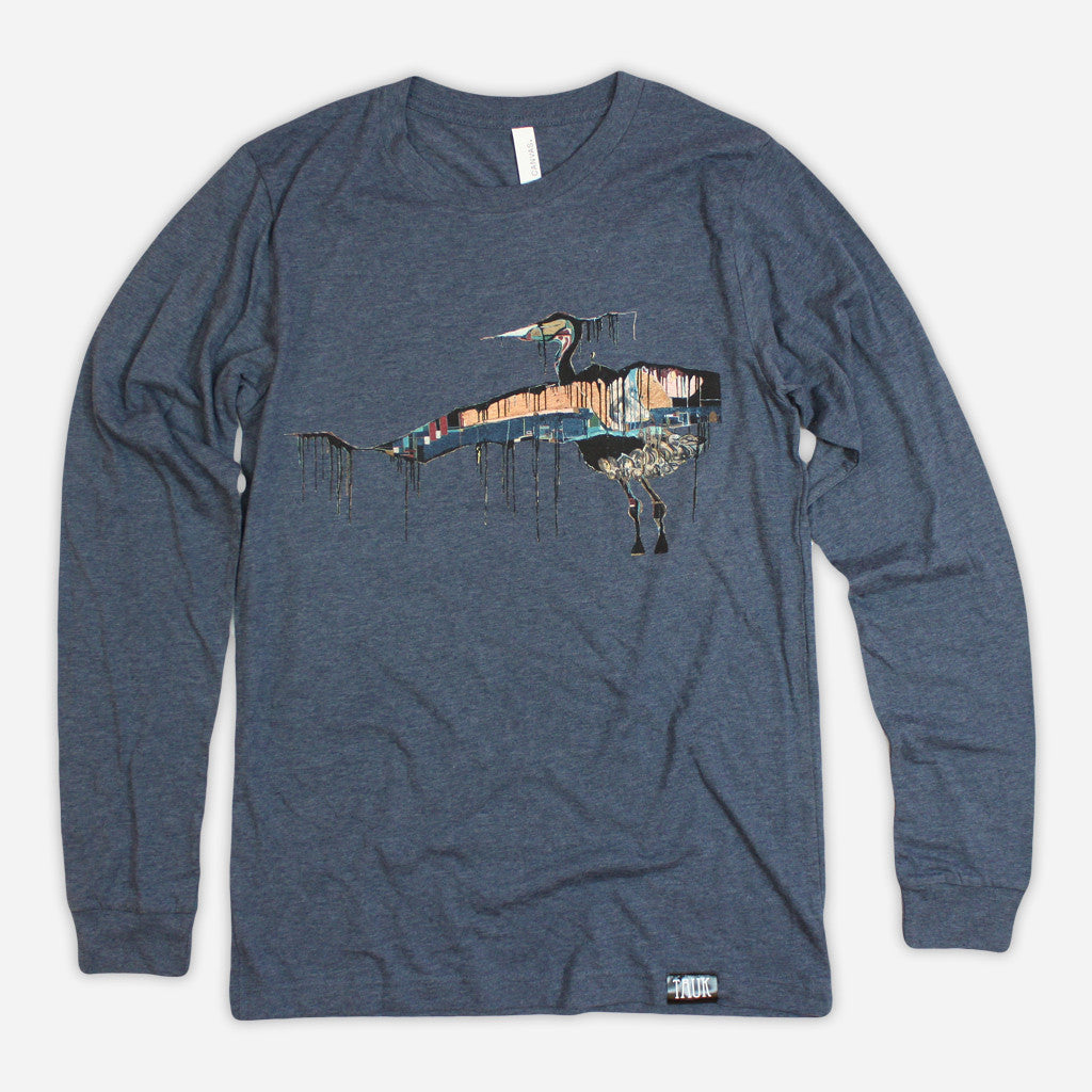 Bird Heather Indigo Long Sleeve T-Shirt - TAUK - Hello Merch