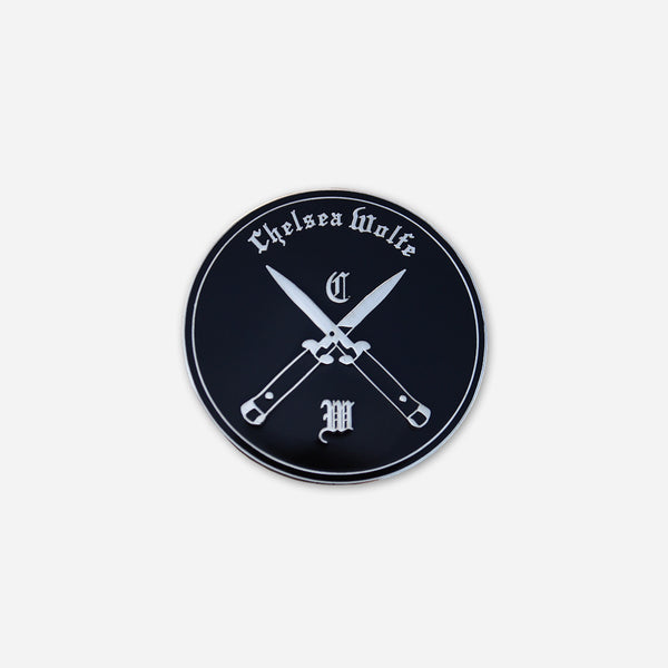 Blades Black & Silver Enamel Pin by Chelsea Wolfe for sale on hellomerch.com