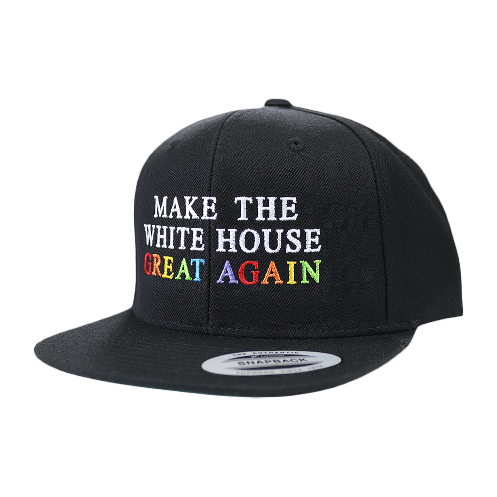 Make The White House Great Again™ Rainbow Stitch on Black Snapback Hat