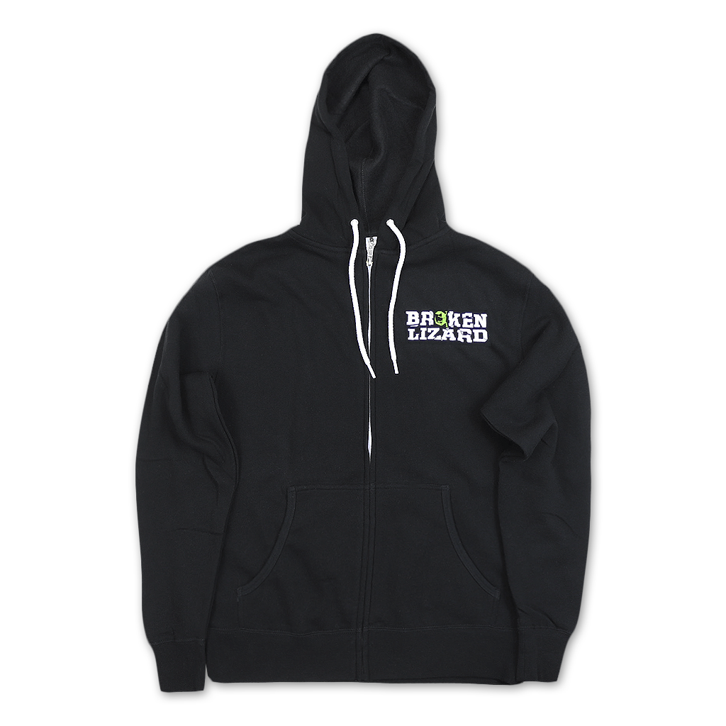Broken Lizard Logo Black Hooded Zip Sweatshirt