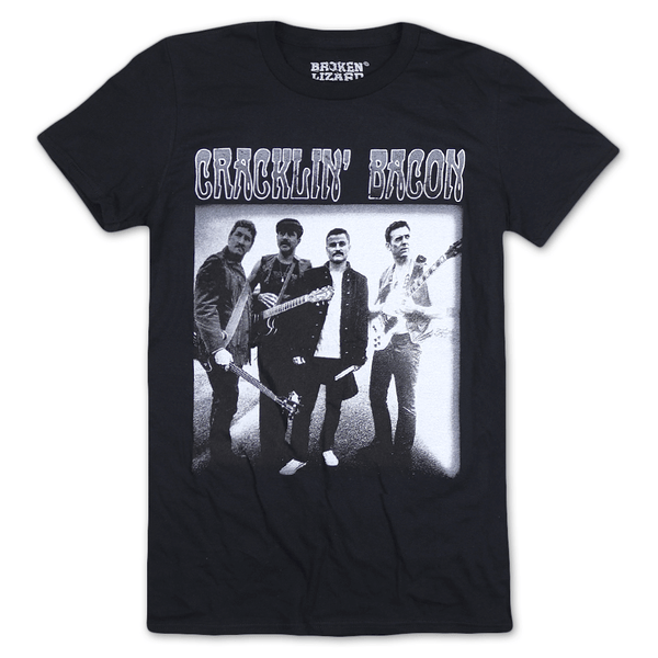 Cracklin' Bacon Band Black T-Shirt by Broken Lizard for sale on hellomerch.com