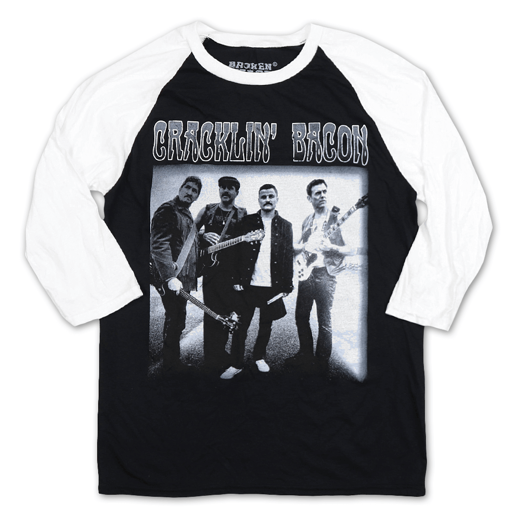 Cracklin' Bacon Band Black/White Raglan