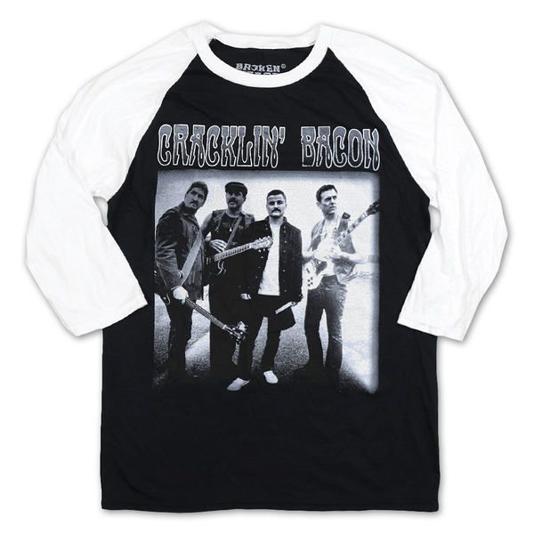 Cracklin' Bacon Band Black/White Raglan by Broken Lizard for sale on hellomerch.com