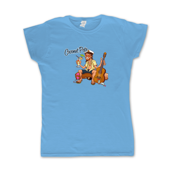 Coconut Pete Women's Light Blue T-Shirt by Broken Lizard for sale on hellomerch.com