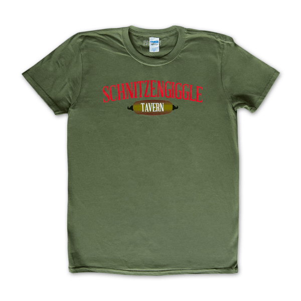 Schnitzengiggle Military Green T-Shirt by Broken Lizard for sale on hellomerch.com