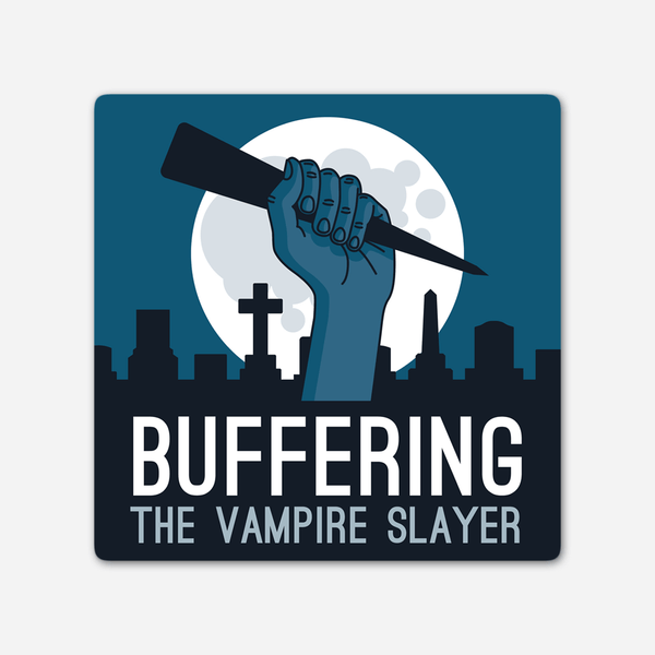 Buffering Logo Sticker by Buffering the Vampire Slayer for sale on hellomerch.com