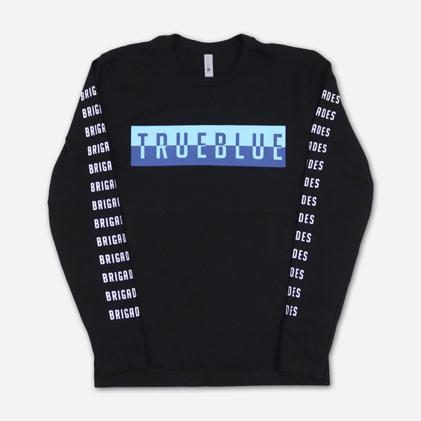 True Blue Black Long Sleeve T-Shirt by Brigades for sale on hellomerch.com