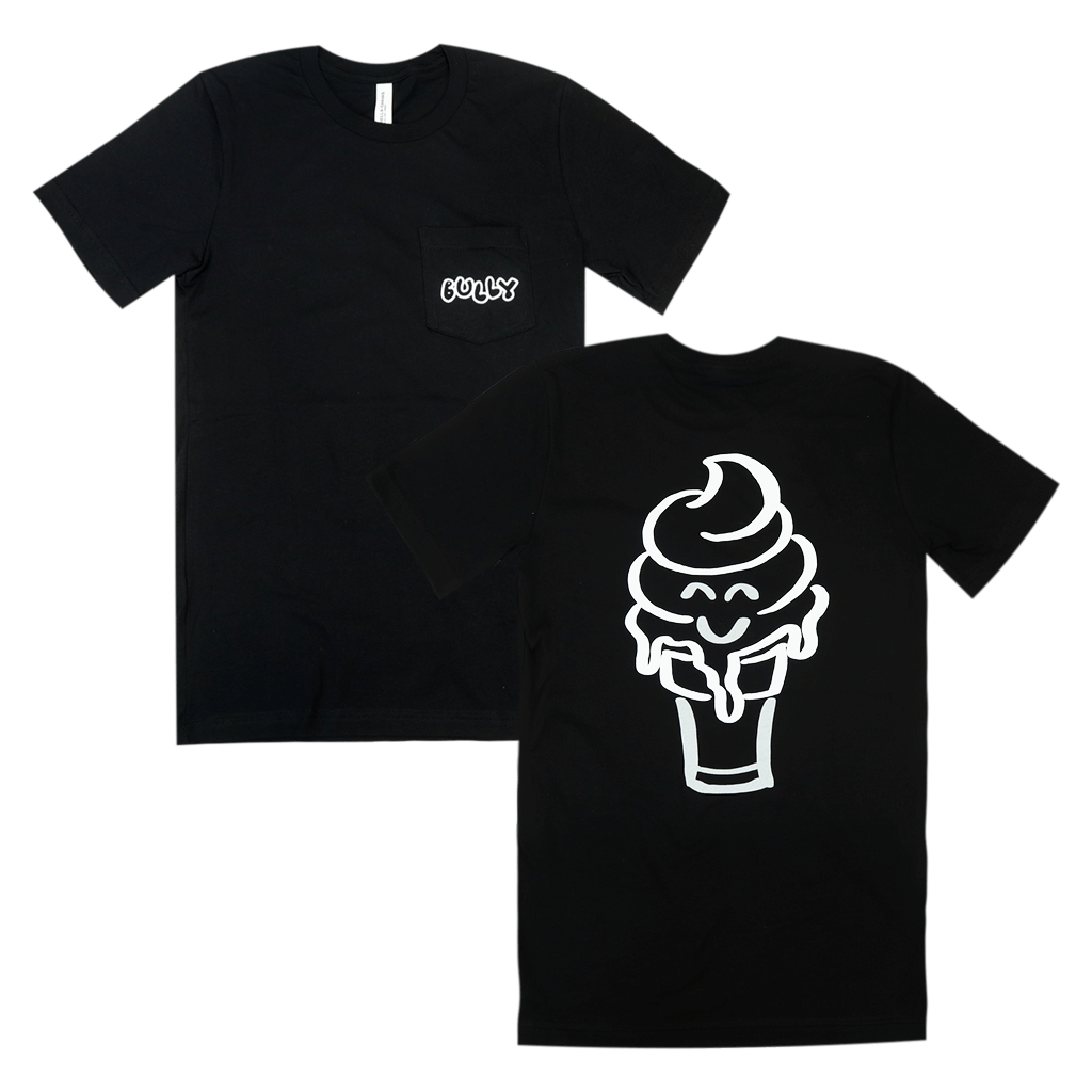 Smiley Ice Cream Cone Black Pocket T-Shirt