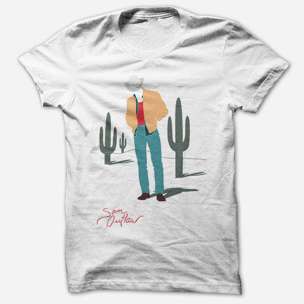 Cacti White T-Shirt by Sam Outlaw for sale on hellomerch.com