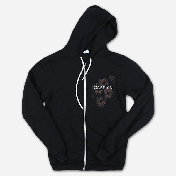 Flowers Black Zip Hoodie by Caspian for sale on hellomerch.com