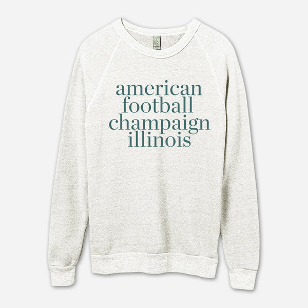 AF Champaign, IL Eco-Oatmeal Champ Pullover by American Football for sale on hellomerch.com