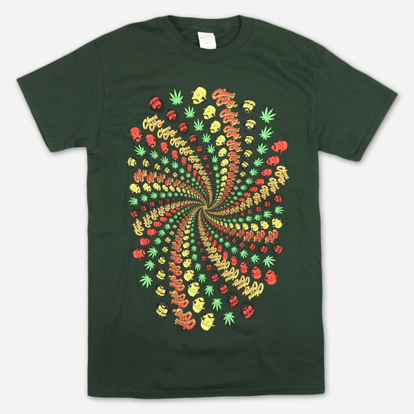98554ada8 3-D Spiral Forest Green T-Shirt by Cheech and Chong for sale on