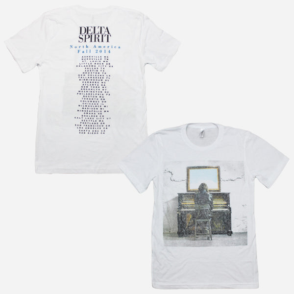 Into The Wild Fall 2014 Tour White Poly-Cotton T-Shirt by Delta Spirit for sale on hellomerch.com