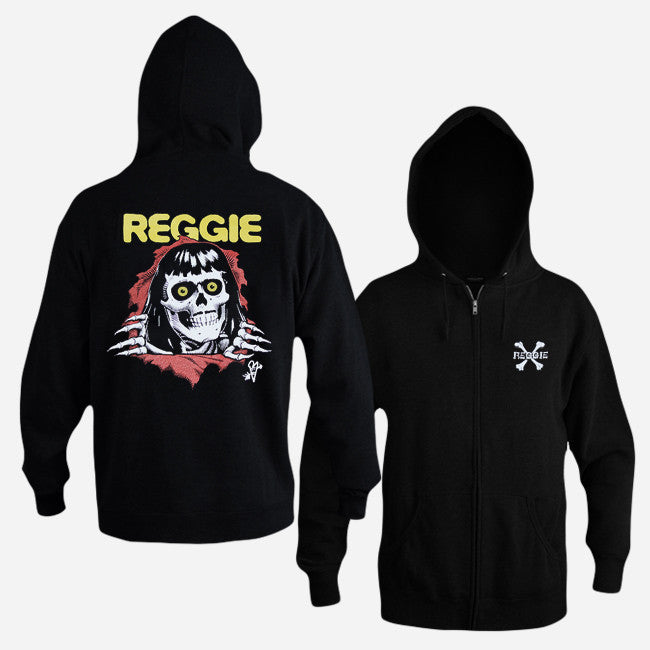 Crossbones Black Zip Hoodie - Reggie and the Full Effect - Hello Merch