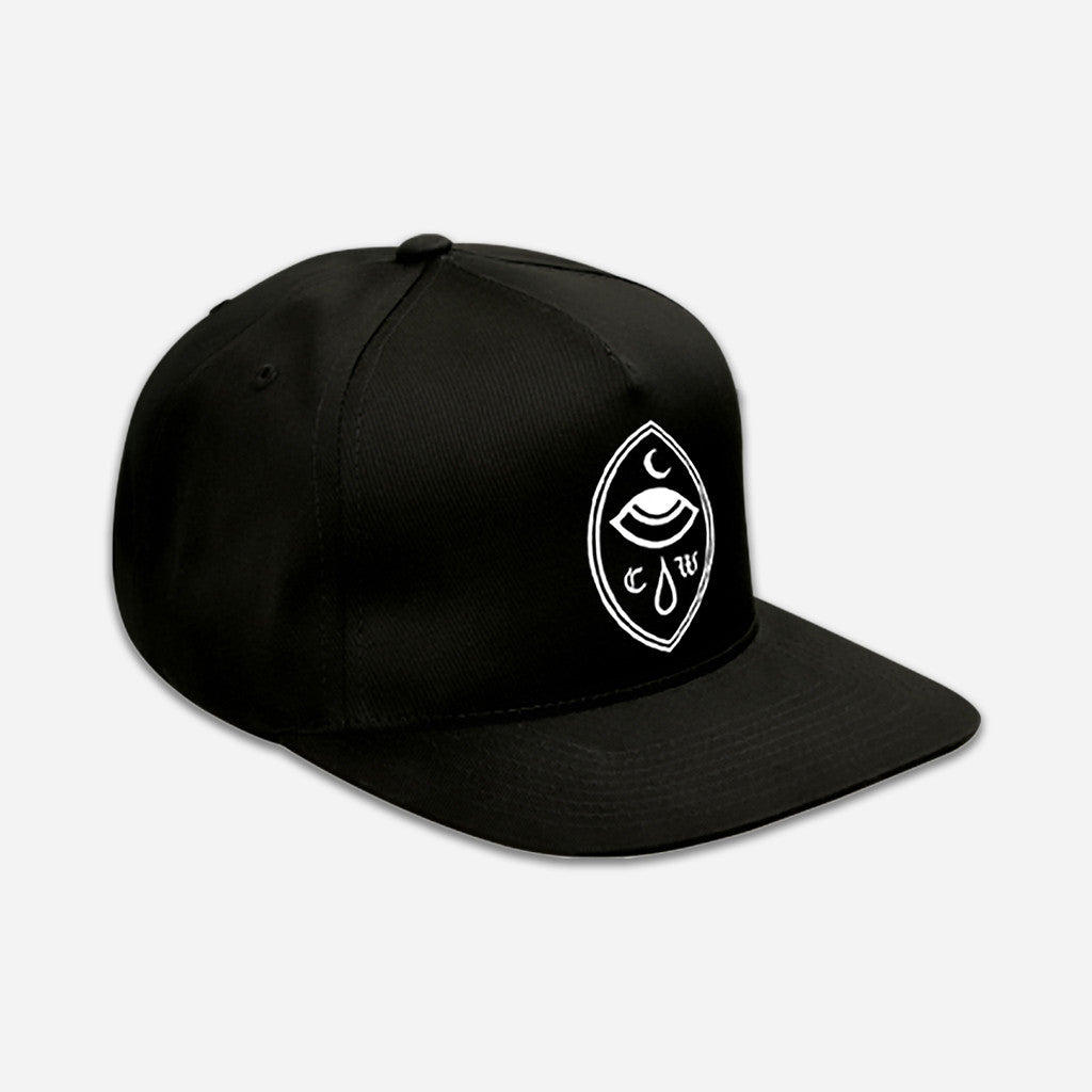 Crying Eye Black Embroidered Snapback Hat