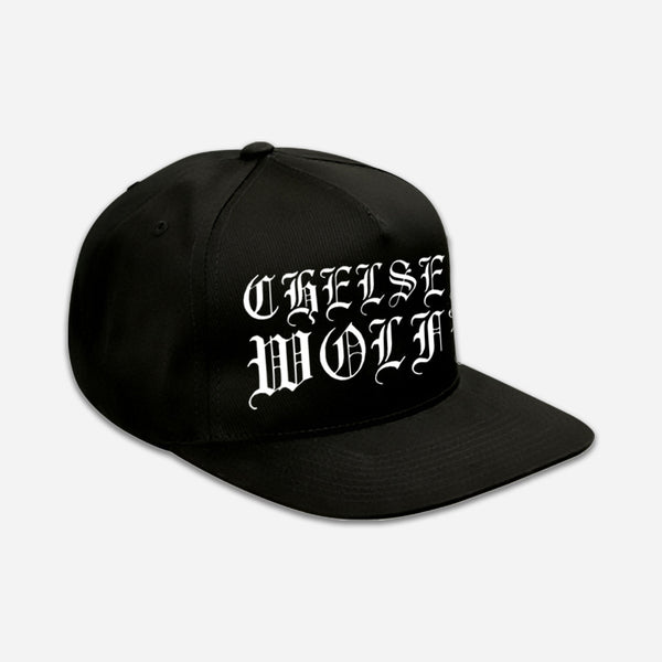 CW Classic Logo Black Embroidered Snapback Hat by Chelsea Wolfe for sale on hellomerch.com
