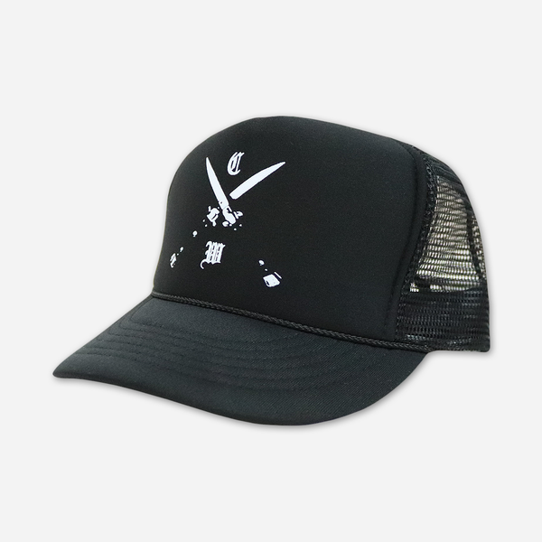 Blades Black Trucker Hat by Chelsea Wolfe for sale on hellomerch.com
